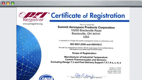 Certificate of Registration ISO 900:2008 and AS9100 Rev. B1